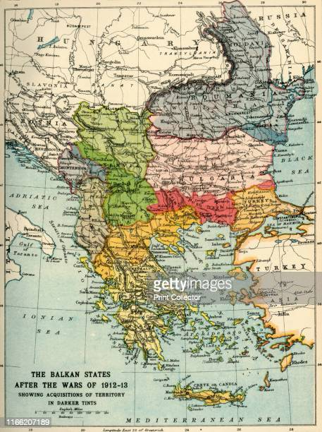 The Balkan States After the Wars of 191213' 'Showing Acquisitions of Territory in Darker Tints' Map of the Balkans Bosnia Montenegro Ser via Albania...