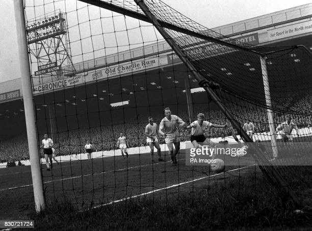 The ball crosses the line for Burnley's first goal after three minutes against Manchester City during the Division One League match at Maine Road,...