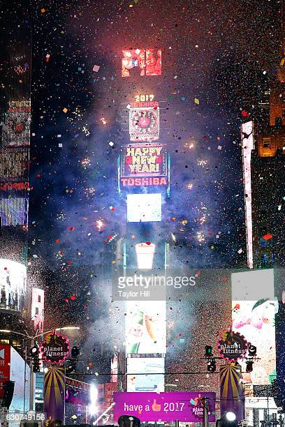 The ball drops at midnight during New Year's Eve at Times Square on December 31 2016 in New York City