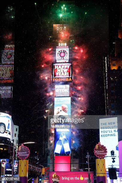 The ball drops at Times Square on December 31 2017 in New York City