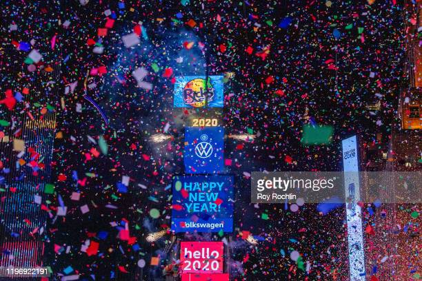 The ball drops during the 2020 New Year Celebration on December 31 2019 in New York City