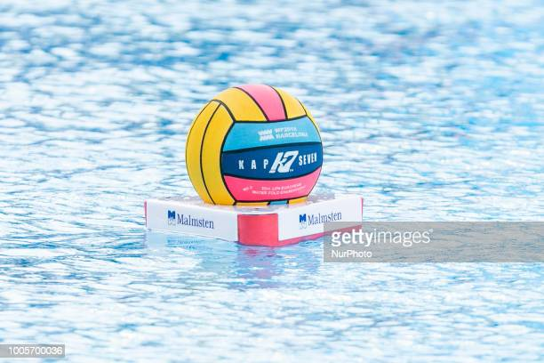 the ball during the match between Greece vs Russia corresponding to the 33rd LEN European Waterpolo championships Barcelona 2018 on 26 de July 2018...