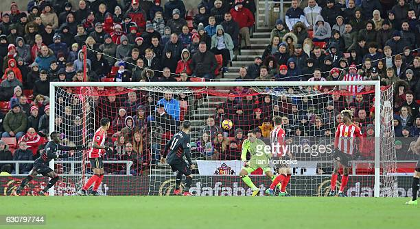 The ball falls to Sadio Mane of Liverpool to score the second Liverpool goal during the Premier League match between Sunderland AFC and Liverpool FC...