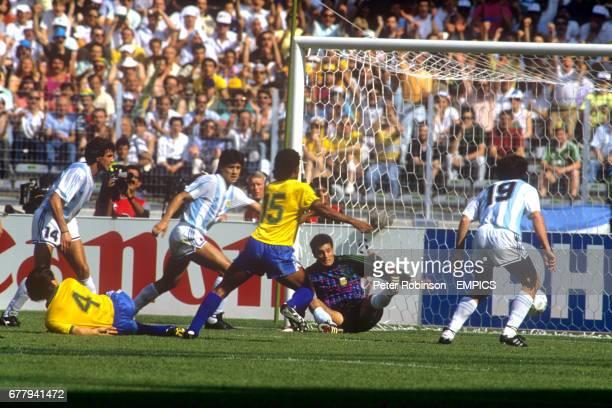 The ball flashes across the Argentina goal Ricardo Giusti Dunga Pedro Monzon Muller Sergio Goycochea and Oscar Ruggeri of Argentina