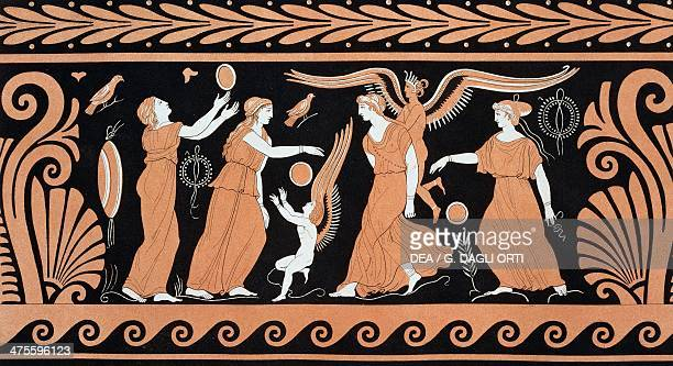 The ball game with Juno Minerva and Venus illustration from Collection des vases grecs de le Comte de M Lamberg vol I Table 47 Paris from 1813 to...