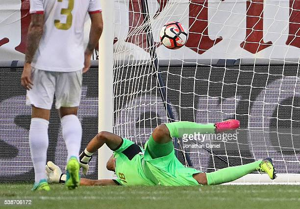 The ball gets over Patrick Pemberton of Costa Rica for a goal by the United States during a match in the 2016 Copa America Centenario at Soldier...