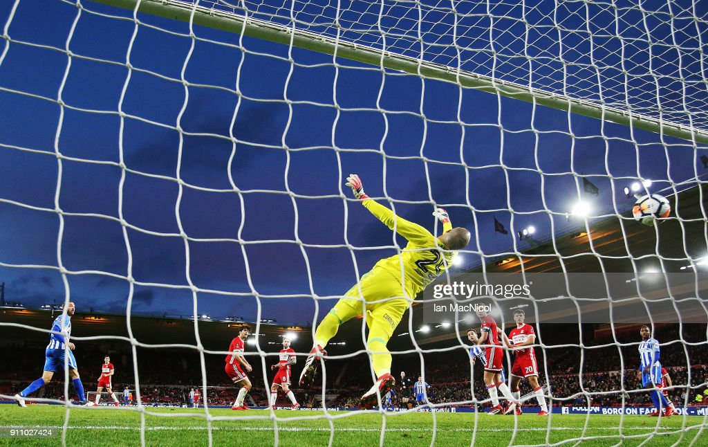 The ball goes past Darren Randolph of Middlesborough after it has ricochet off Glenn Murray of Brighton and Hove Albion during the The Emirates FA Cup Fourth Round match between Middlesbrough v Brighton and Hove Albion at Riverside Stadium on January 27, 2018 in Middlesbrough, England.