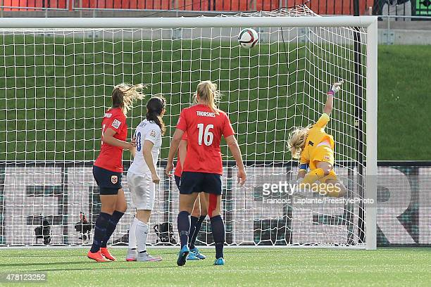 The ball goes past Ingrid Hjelmseth of Norway for a goal by England during the FIFA Women's World Cup Canada 2015 round of 16 match between Norway...