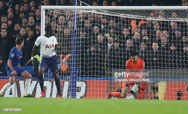the ball goes through the legs of Tottenham goalkeeper Paulo Gazzaniga for the opening Chelsea goal during the Carabao Cup SemiFinal Second Leg match...