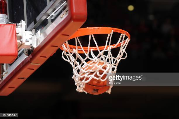 The ball goes through the net during the game between the North Carolina State Wolfpack and the Maryland Terrapins at the Comcast Center on February...