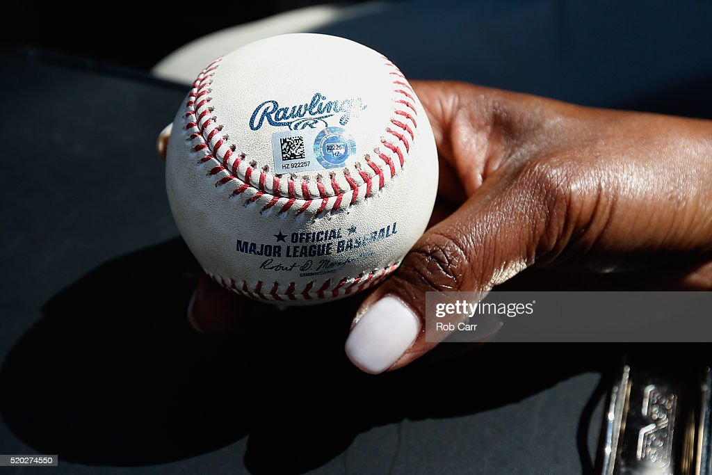 The ball hit by Hyun Soo Kim #25 of the Baltimore Orioles (not pictured) for his first major league hit is displayed during the Orioles and Tampa Bay Rays game at Oriole Park at Camden Yards on April 10, 2016 in Baltimore, Maryland.