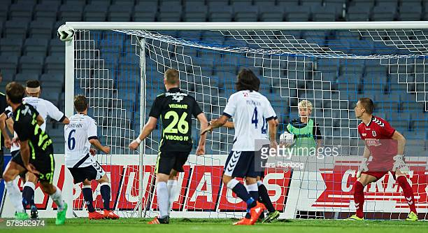 The ball hit the post at Goalkeeper Aleksandar Jovanovic of AGF Aarhus' goal during the Danish Alka Superliga match between AGF Aarhus and Viborg FF...