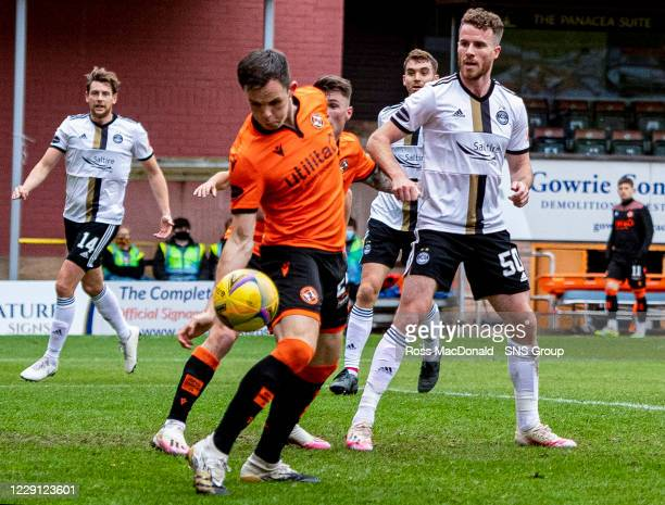 The ball hits Dundee United's Lawrence Shankland on the hand during a Scottish Premiership match between Dundee United and Aberdeen at Tannadice...