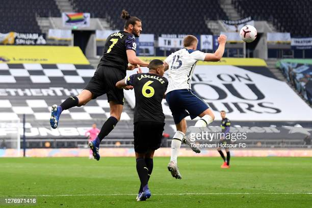 The ball hits the arm of Eric Dier of Tottenham Hotspur leading to a penalty during the Premier League match between Tottenham Hotspur and Newcastle...