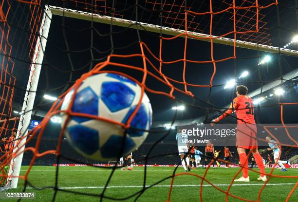 The ball hits the back of the net as Aymeric Laporte of Manchester City scores his team's second goal during the Group F match of the UEFA Champions...