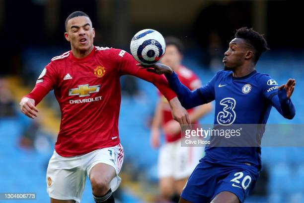 The ball hits the hand of Callum Hudson-Odoi of Chelsea as he is is challenged by Mason Greenwood of Manchester United which was reviewed by VAR...