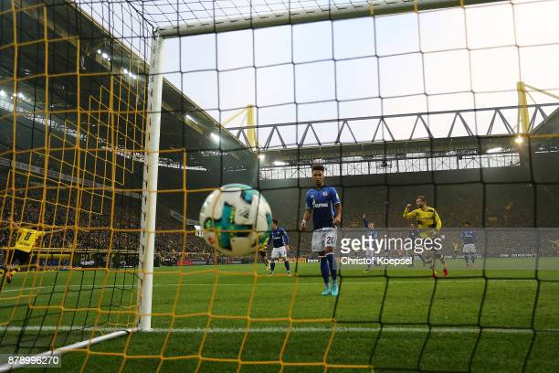 The ball in the goal after Benjamin Stambouli of Schalke scored an own goal to make it 20 during the Bundesliga match between Borussia Dortmund and...