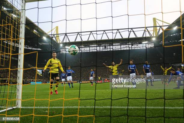 The ball in the net after Raphael Guerreiro of Dortmund scored to make it 30 during the Bundesliga match between Borussia Dortmund and FC Schalke 04...