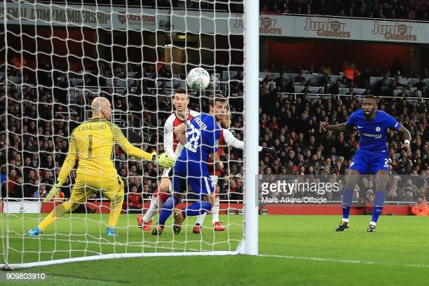 The ball is deflected in off of Antonio Rudiger of Chelsea for an own goal during the Carabao Cup SemiFinal 2nd leg match between Arsenal and Chelsea...