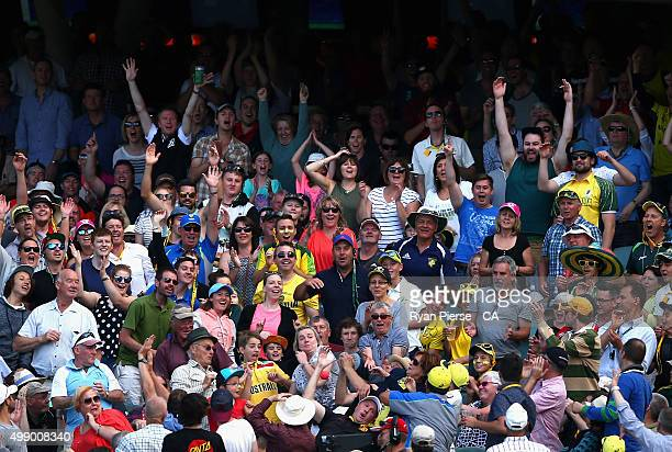 The ball is hit into the crowd during day two of the Third Test match between Australia and New Zealand at Adelaide Oval on November 28 2015 in...