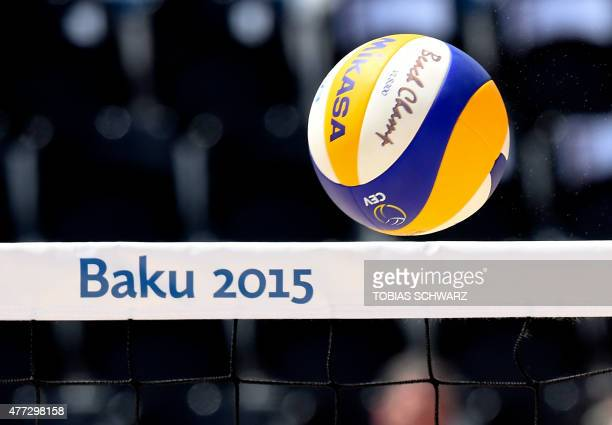 The ball is pictured above the net during the women's beach volleyball preliminary round Group H match Azerbaijan vs Poland at the 2015 European...