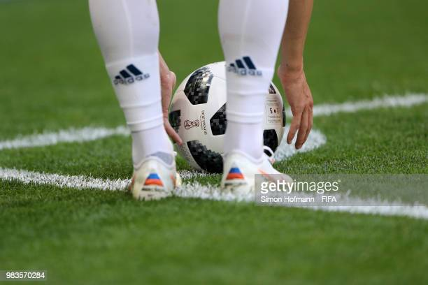 The ball is placed in the corner during the 2018 FIFA World Cup Russia group A match between Uruguay and Russia at Samara Arena on June 25 2018 in...