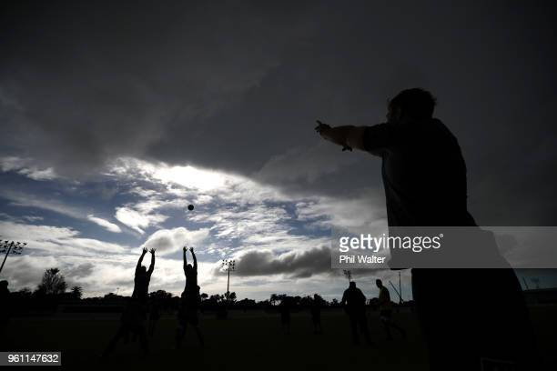 The ball is thrown into the lineout during a New Zealand All Blacks at Auckland Blues HQ on May 22 2018 in Auckland New Zealand