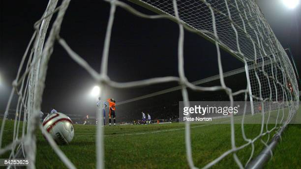 The ball lies in the back of the net after Adebayo Akinfenwa of Northampton Town had scored his sides equalizing goal with the last kick of the match...