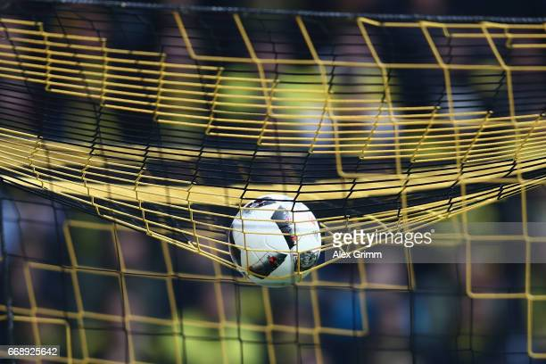 The ball lies on the net of the goal during the Bundesliga match between Borussia Dortmund and Eintracht Frankfurt at Signal Iduna Park on April 15...