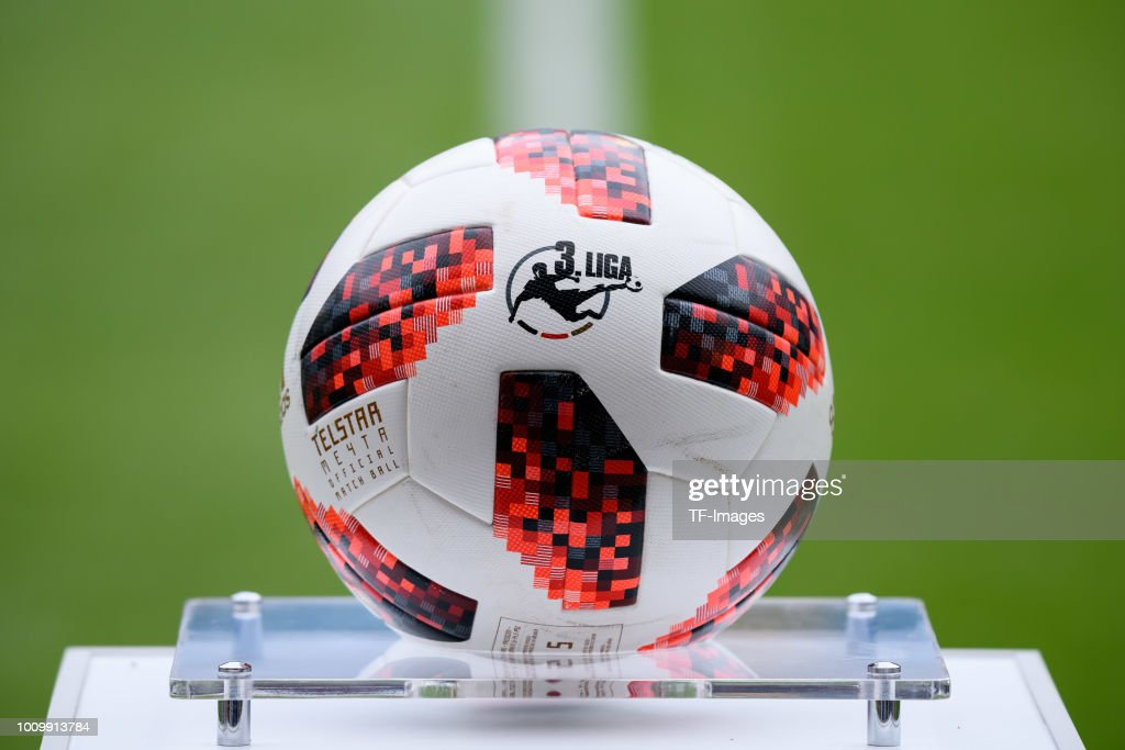 The ball of Adidas is seen prior to the 3. Liga match between KFC Uerdingen 05 and SpVgg Unterhaching at Grotenburg-Stadion on July 29, 2018 in Duisburg, Germany.