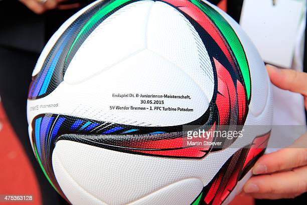 The ball of the Championship final during the U17 Girl's Bundesliga final match between SV Werder Bremen and Turbine Potsdam at Werser Stadium on May...