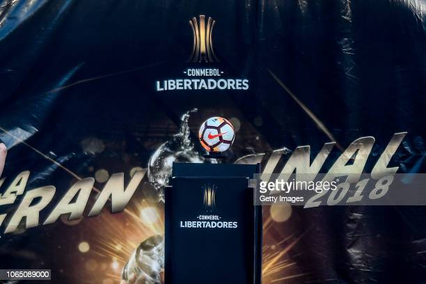 The ball of the match before the suspension of the game during the second leg final match of Copa CONMEBOL Libertadores 2018 between River Plate and...