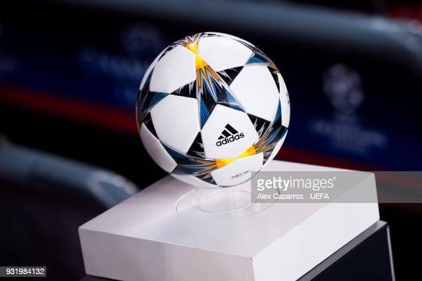 The ball of the match is seen before the UEFA Champions League Round of 16 Second Leg match between FC Barcelona and Chelsea FC at Camp Nou on March...