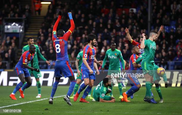 The ball rebounds off Craig Cathcart of Watford as Crystal Palace score their team's first goal during the Premier League match between Crystal...