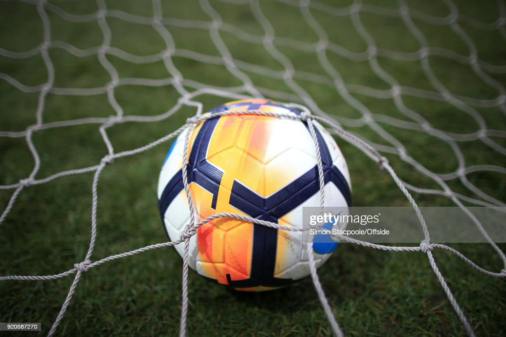 The ball rests in the back of the goal net during The Emirates FA Cup Fifth Round match between Rochdale AFC and Tottenham Hotspur at Spotland Stadium on February 18, 2018 in Rochdale, England.