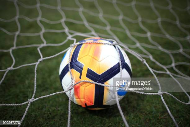 The ball rests in the back of the goal net during The Emirates FA Cup Fifth Round match between Rochdale AFC and Tottenham Hotspur at Spotland...