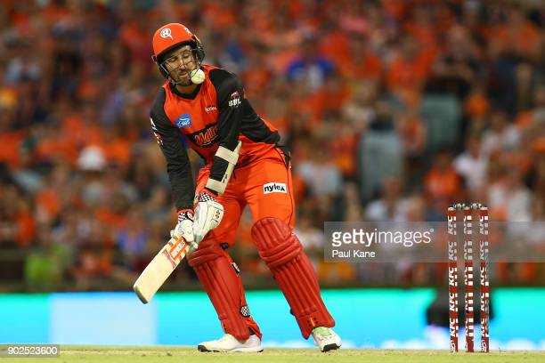 The Ball rises up into the grill of Tom Cooper of the Renegades during the Big Bash League match between the Perth Scorchers and the Melbourne...