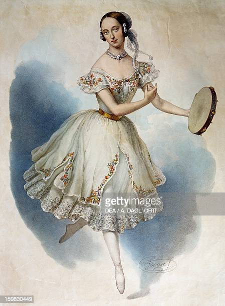 The ballerina Fanny Essler in stage costume Colour print 19th century Milan Museo Teatrale