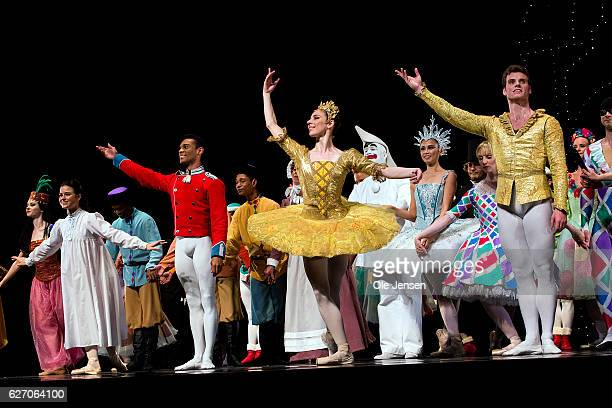 The ballet company receives the audience standing ovations at the premiere evening of the Tarkovsky 'The Nutcracker' ballet in Tivoli which has the...