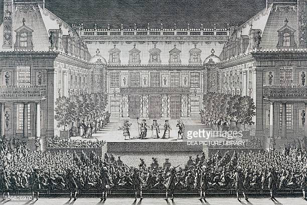 The ballet of the Alceste by Giovanni Battista Lulli performed in the court of the Marble Palace of Versailles on July 4 to celebrate the conquest of...