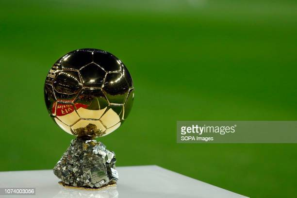The Ballon D'or seen before the La Liga football match between Real Madrid and Rayo Vallecano at the Estadio Santiago Bernabéu in Madrid