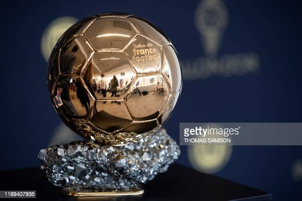 The Ballon d'Or trophy is displayed during a press conference to present the new Ballon d'Or trophy on the outskirts of Paris on September 19 2019