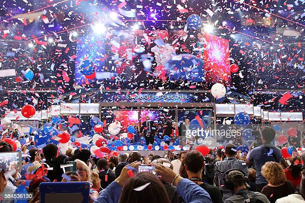 The ballon drop following Democratic presidential nominee Hillary Clinton's speech on the fourth and final night of the Democratic National...
