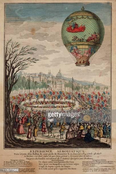 The balloon 'Le Flesselles' ascending over Lyon France on January 19 carrying seven passengers Jean Francois Pilatre du Rozier Joseph Michel...