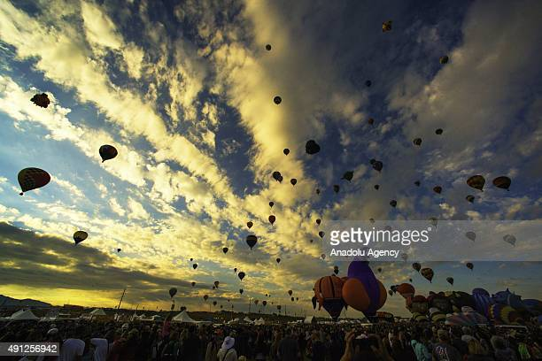 The balloons launch from balloon fiesta field on the first day of Albuquerque International Balloon Fiesta in New Mexico USA on October 4 2015