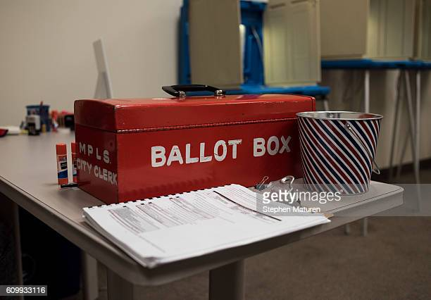 The ballot box at the North Early Voting Center on September 23 2016 in Minneapolis Minnesota Minnesota residents can vote in the general election...