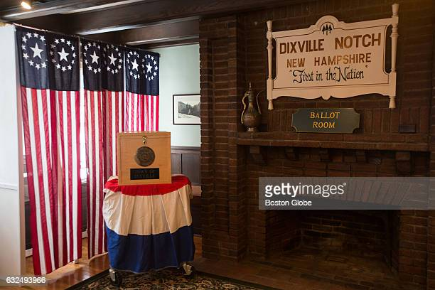 The ballot box sits in the Ballot Room where voting will happen in Dixville Notch NH on Jan 26 2016