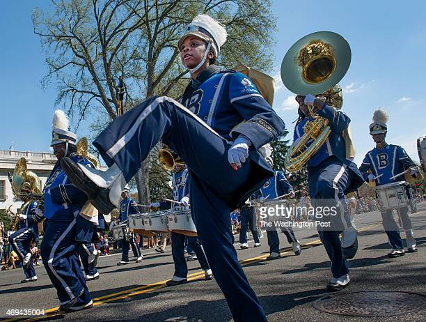 The Ballou High School Marching Band at the annual DC Cherry Blossom Parade down Constitution Avenue in Washington DC on April 1 2015