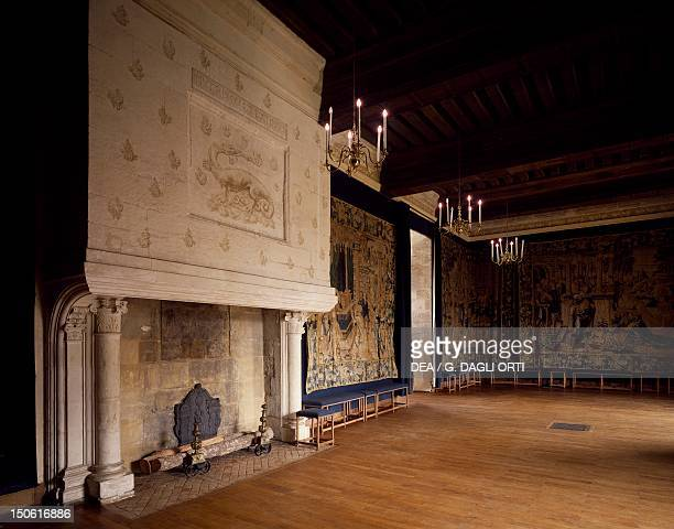 The ballroom characterized by Flemish tapestries with biblical scenes Chateau d'AzayleRideau Loire Valley France 16th century