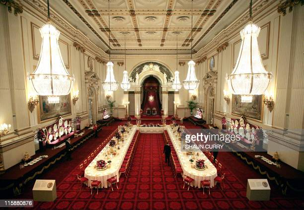 The Ballroom of Buckingham Palace set up for a State Banquet is pictured in London, on July 25, 2008. For the first time ever, visitors to Buckingham...